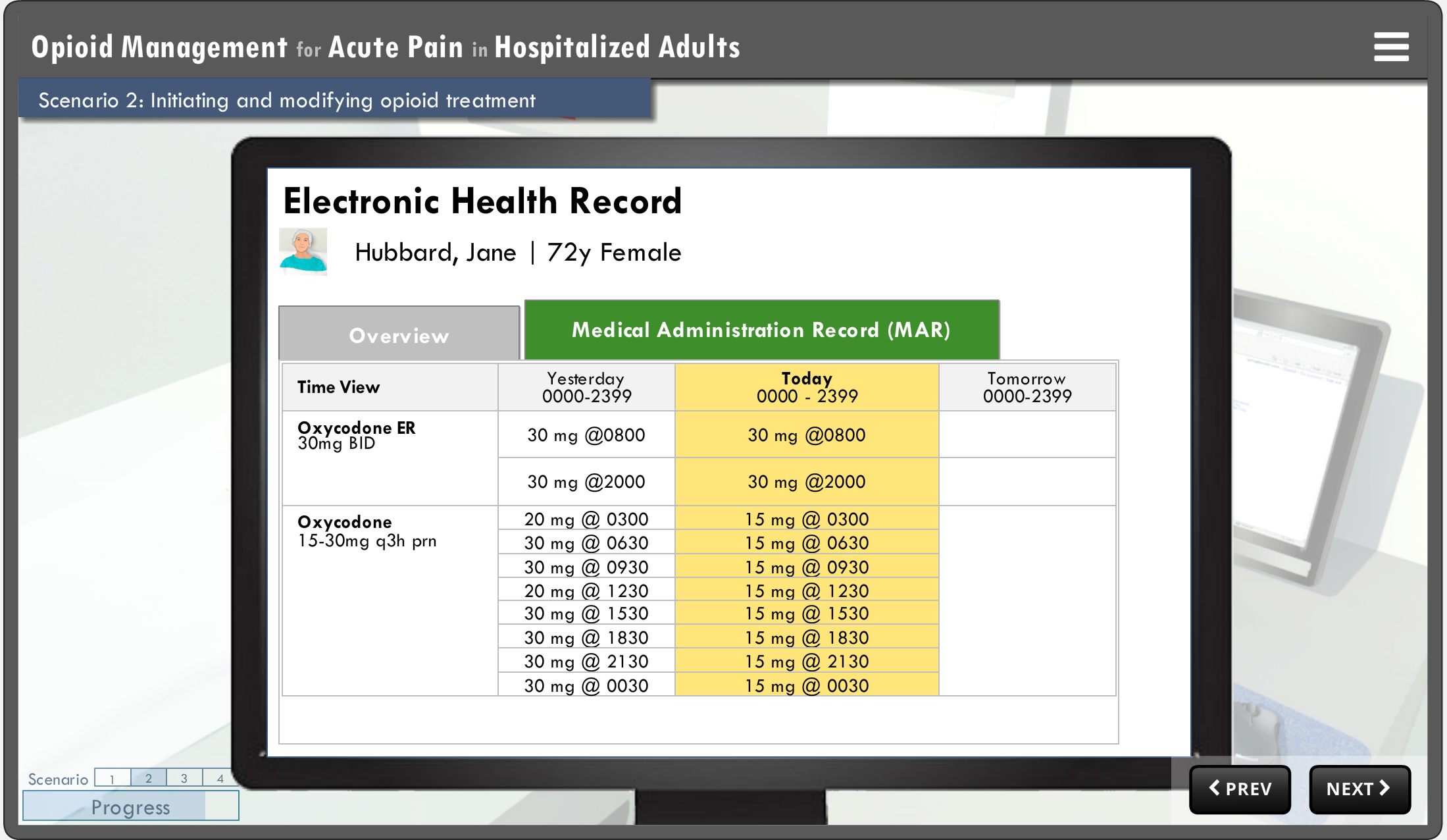 Simplified Electronic Health Record interface showing the Medical Administration Record