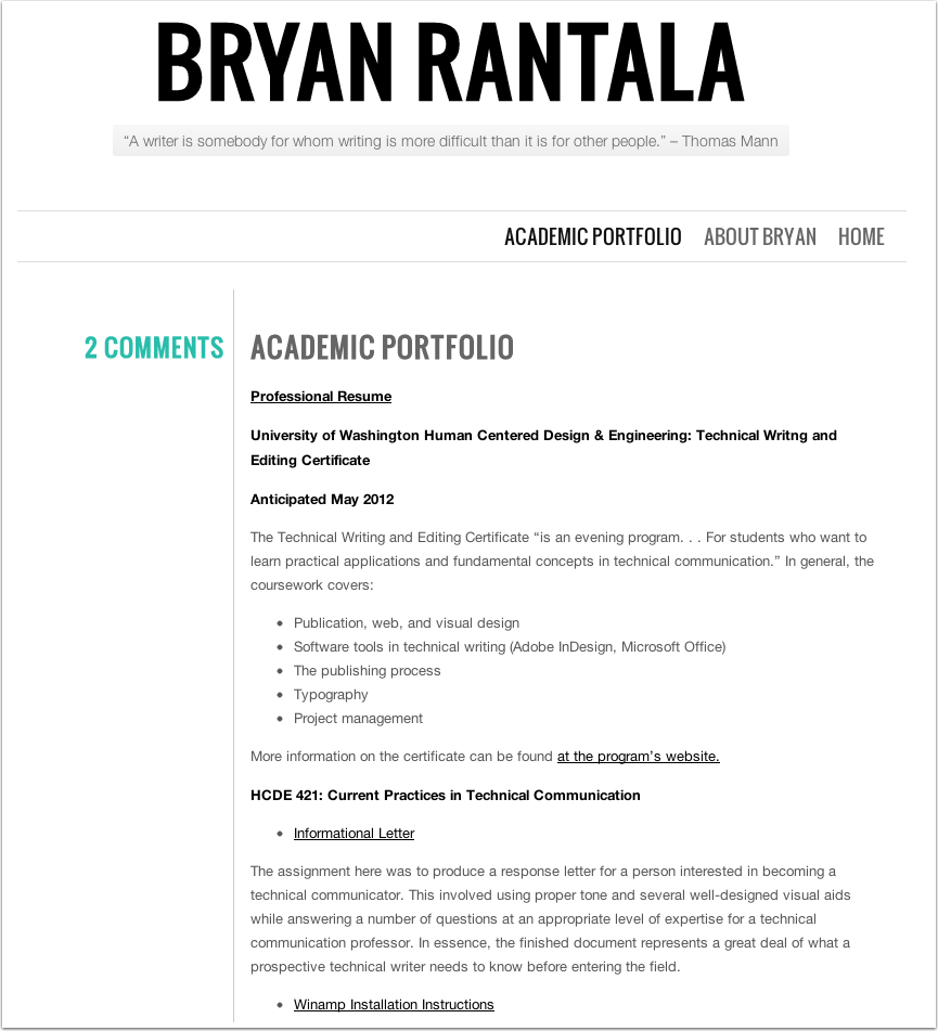 Bryan Rantala's Academic Portfolio