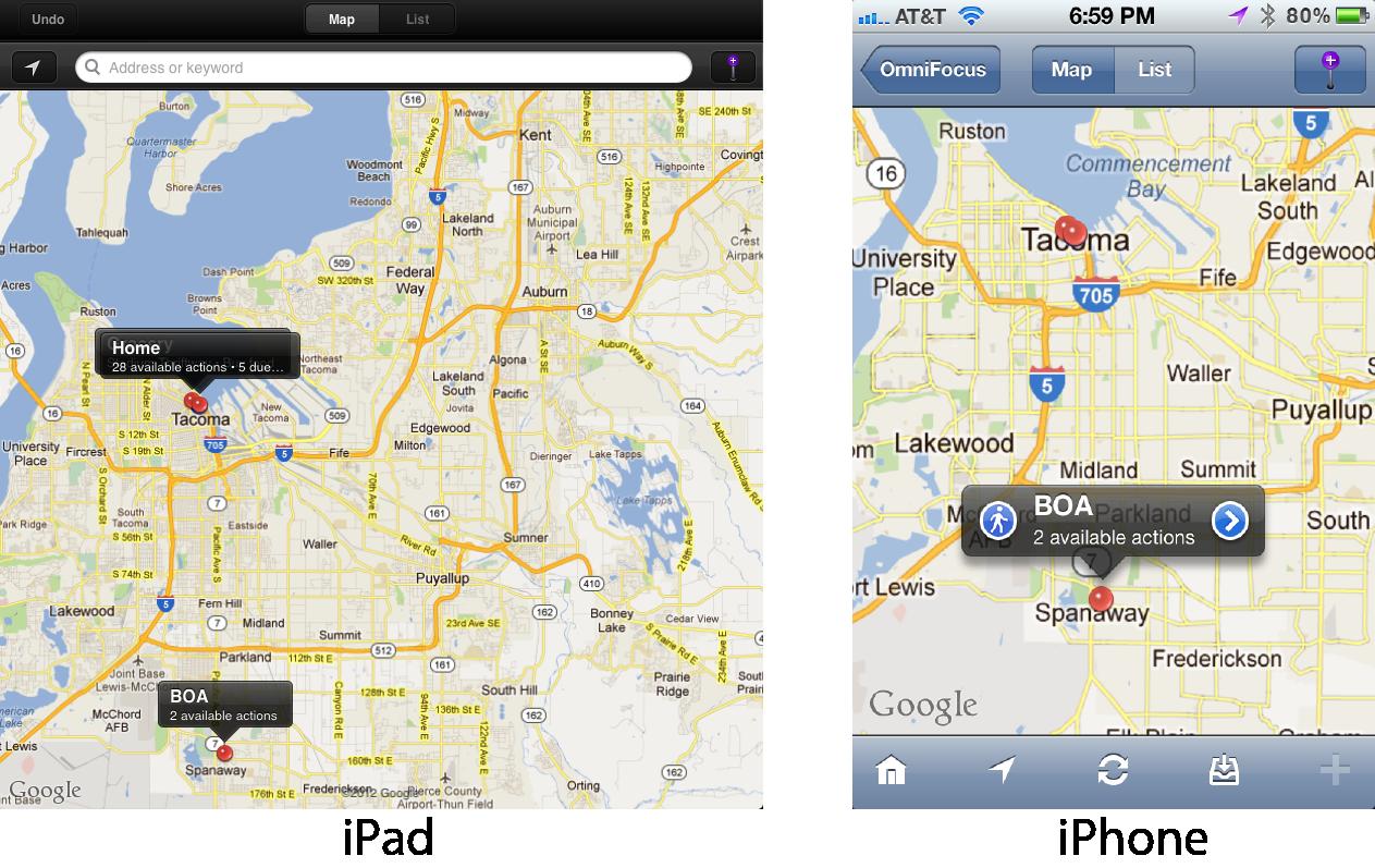 OmniFocus - Map View