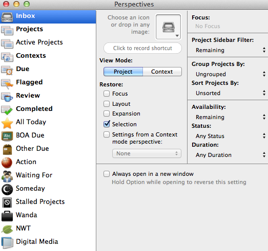 OmniFocus - Perspectives