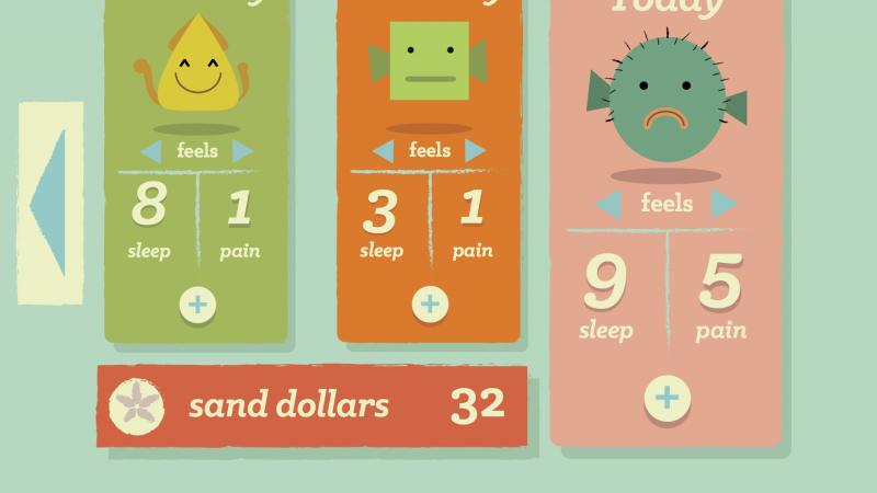 Sleeping Manatees Dashboard with 3 days cards indicating mood, pain, and sleep
